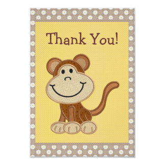 Cute Embroidery Monkey Thank You Baby Shower 9 Cm X 13 Cm Invitation Card