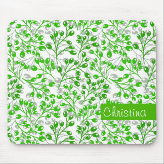 Cute emerald green autumn berries mouse pad