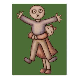 Cute Emo Cartoon of Girl Hugging Boy postcard