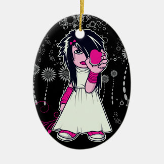 cute emo girl holding heart vector art Double-Sided oval ceramic christmas ornament