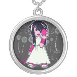cute emo girl holding heart vector art round pendant necklace
