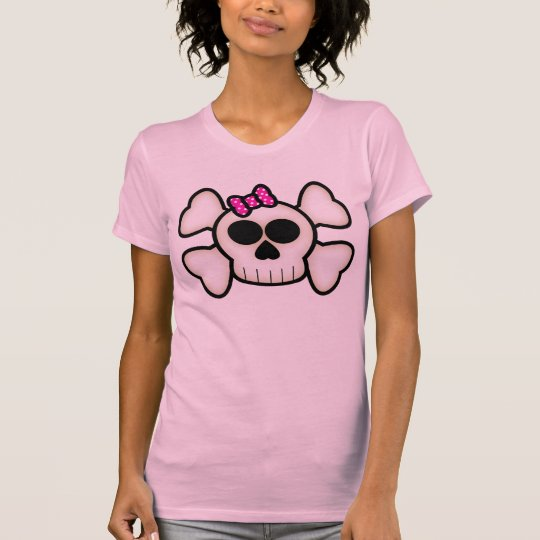 Cute Emo Girl Skull and Crossbones with Bow