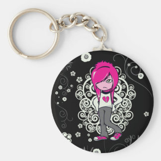 cute emo girl swirls vector illustration basic round button key ring