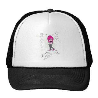 cute emo girl swirls vector illustration cap