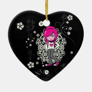 cute emo girl swirls vector illustration ceramic heart decoration