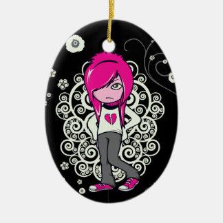 cute emo girl swirls vector illustration ceramic oval decoration