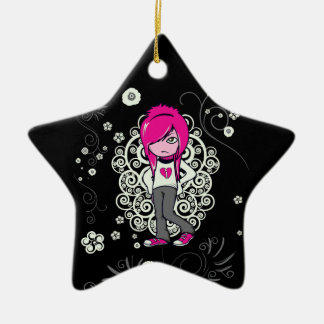 cute emo girl swirls vector illustration ceramic star decoration