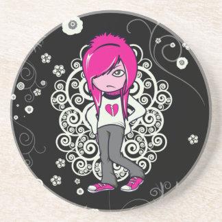cute emo girl swirls vector illustration coaster
