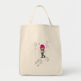 cute emo girl swirls vector illustration grocery tote bag