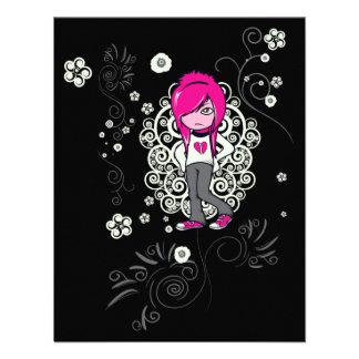 cute emo girl swirls vector illustration personalized invite