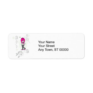 cute emo girl swirls vector illustration return address label