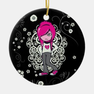 cute emo girl swirls vector illustration round ceramic decoration