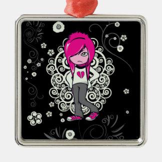 cute emo girl swirls vector illustration Silver-Colored square decoration