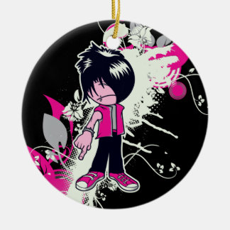 cute emo kid Double-Sided ceramic round christmas ornament