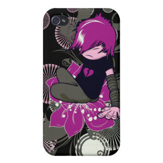 cute emo kid sitting on a flower iPhone 4 case