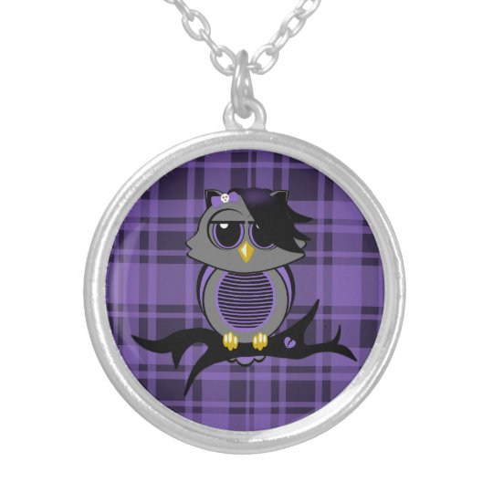 Cute Emo Owl and Plaid Necklace