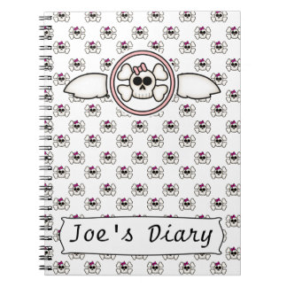 Cute Emo Skull and Crossbones Girl's Journal