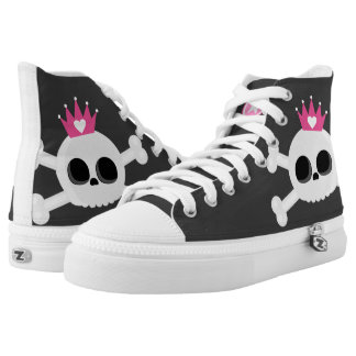 Cute Emo Skull with Crown High Tops