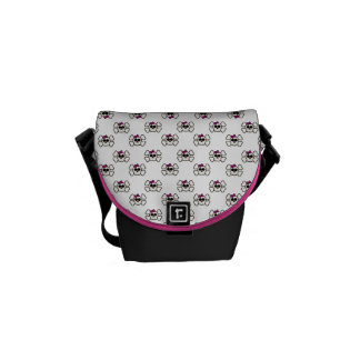 Cute Emo Style Girl Skull and Crossbones Pattern Courier Bag