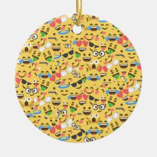 cute emoji love hears kiss smile laugh pattern christmas ornament