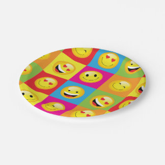 Cute Emoji Party Emoticon Smiley Faces Squares Paper Plate