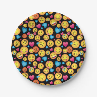 Cute Emoji Print Party Plates