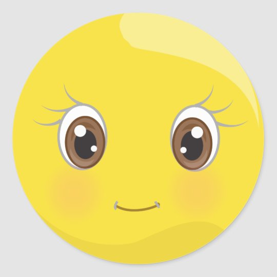 Cute Emoji Smiley With Eyelashes Stickers