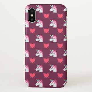 Cute Emoji Unicorn and Hearts Pattern iPhone X Case