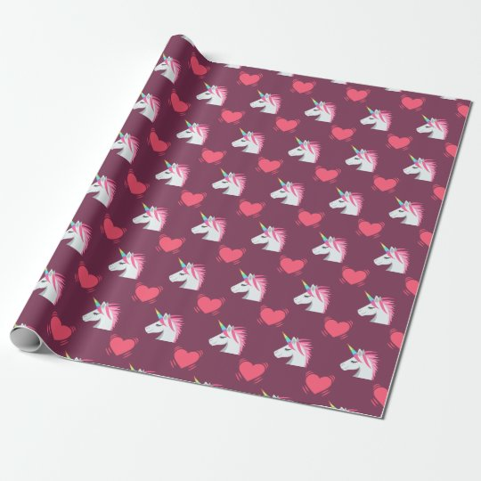 Cute Emoji Unicorn and Hearts Pattern Wrapping Paper