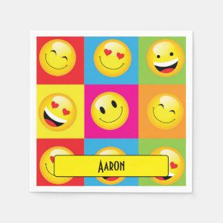Cute Emoticon Yellow Smiley Faces Emoji Party Disposable Napkin