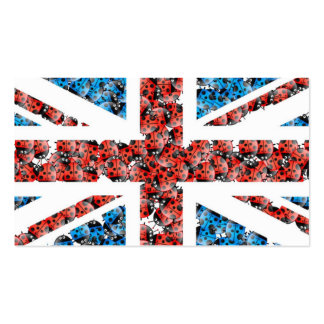 Cute England flag Cartoon Ladybugs Insects Business Card Template