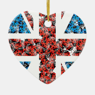 Cute England flag Cartoon Ladybugs Insects funny Christmas Ornament