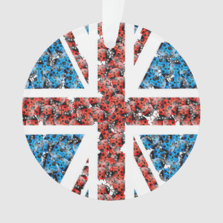 Cute England flag Cartoon Ladybugs Insects funny Ornament