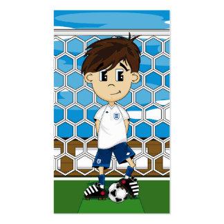 Cute England Soccer Boy Bookmark Business Card Templates