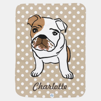 Cute English Bulldog Custom Name Baby Blankets