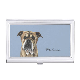 Cute English Bulldog Drawing Business Card Holder