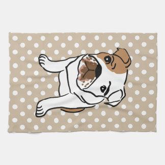 Cute English Bulldog Illustration Tea Towel