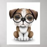 Cute English Bulldog Puppy Wearing Glasses White Poster
