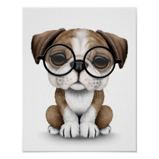 Cute English Bulldog Puppy Wearing Glasses White Poster