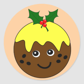 Cute English Christmas Pudding Image Round Stickers