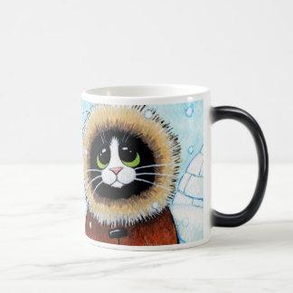 Cute Eskimo Cat and Igloo Magic Mug