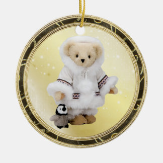 Cute Eskimo Teddy Bear & Penguin Ornament