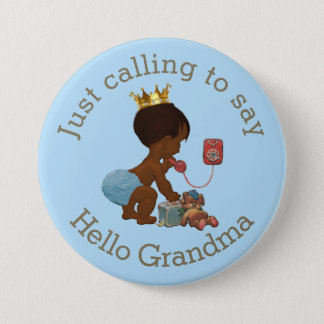 Cute Ethnic Prince Calling to Say Hello Grandma 7.5 Cm Round Badge