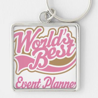 Cute Event Planner Silver-Colored Square Key Ring