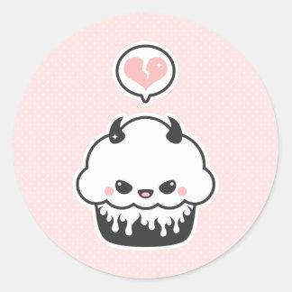 Cute Evil Cupcake Round Sticker