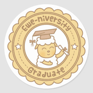 Cute Ewe University Graduate Sheep Pun Humour Classic Round Sticker