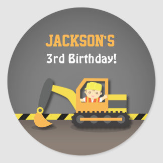 Cute Excavator Construction Birthday Party Labels Round Sticker