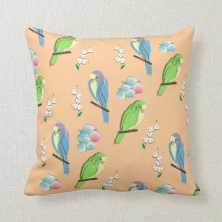 Cute Exotic Birds and Ditsy Floral Pattern Pillow