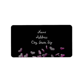 Cute explosion of hearts wedding address label
