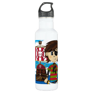 Cute Eyepatch Pirate and Ship 710 Ml Water Bottle